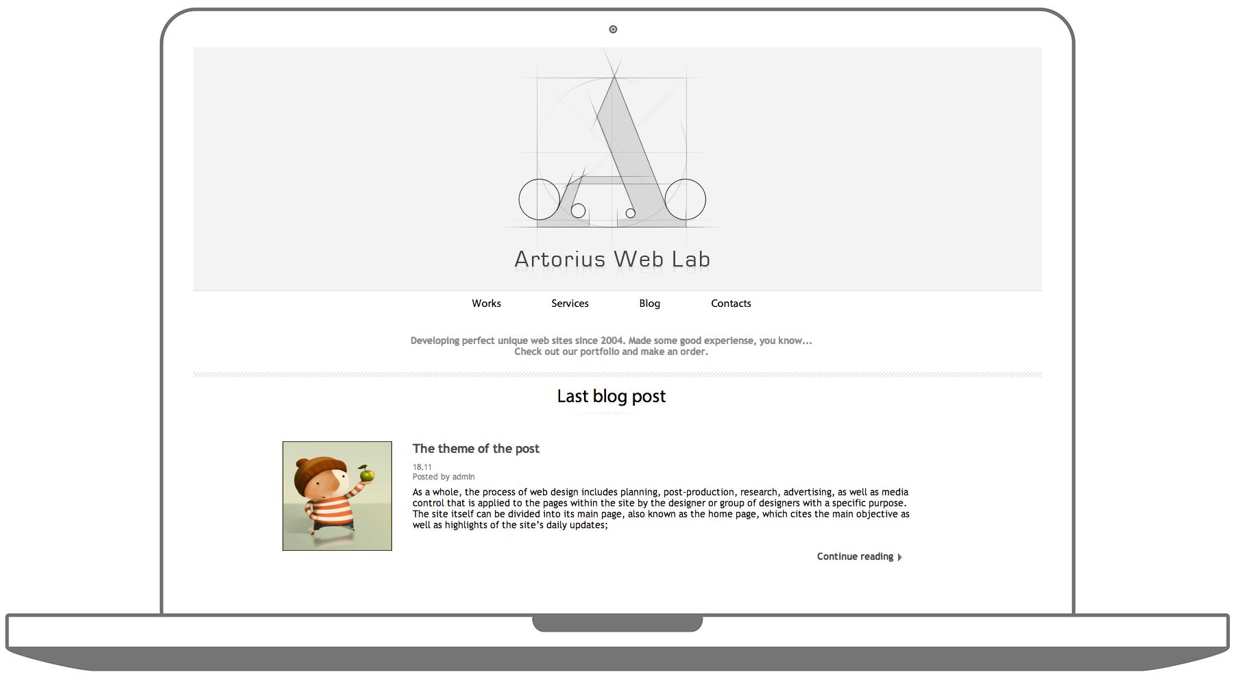 Главная страница студии Artorius Web Lab