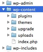 директория wp-content и её содержимое в WordPress