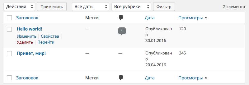 Сортируем записи по произвольному полю в админке WP