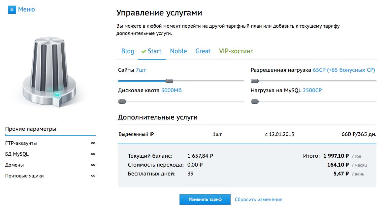 Управление услугами, beget.ru